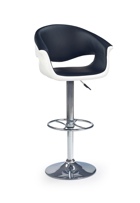 Scaun de bar tapitat cu piele ecologica cu picior metalic H-46 Negru / Alb l60xA52xH93-115 cm