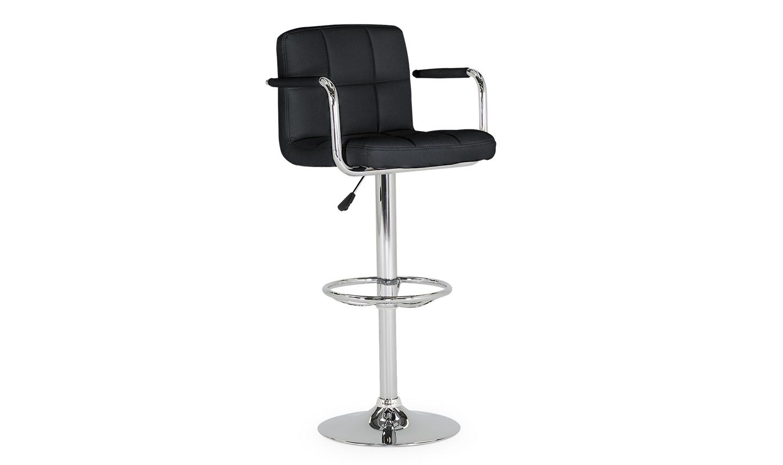 Set 2 scaune de bar tapitate cu piele ecologica cu picior metalic Miami Black l45xA45xH101 cm