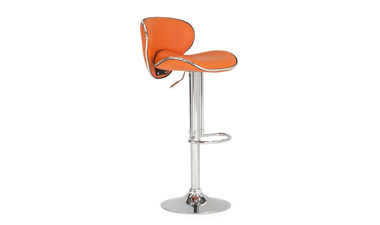 Scaun de bar tapitat cu piele ecologica cu picior metalic Nigella Orange l45xA47xH102 cm