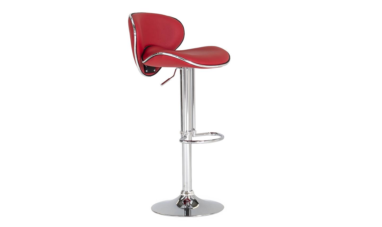 Scaun de bar tapitat cu piele ecologica cu picior metalic Nigella Red l45xA47xH102 cm