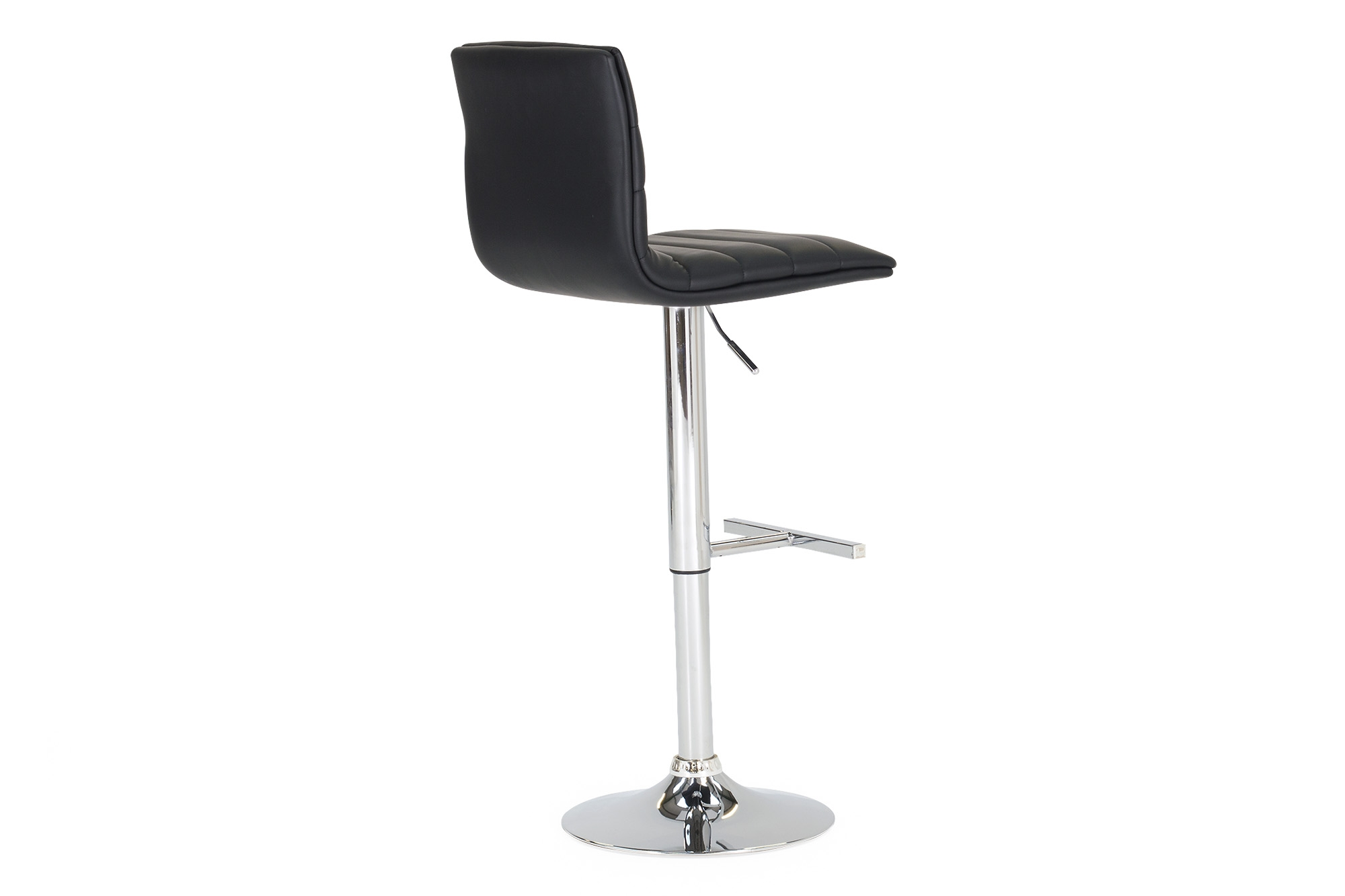 Set 2 scaune de bar tapitate cu piele ecologica cu picior metalic Retro Black l40xA44xH83 cm