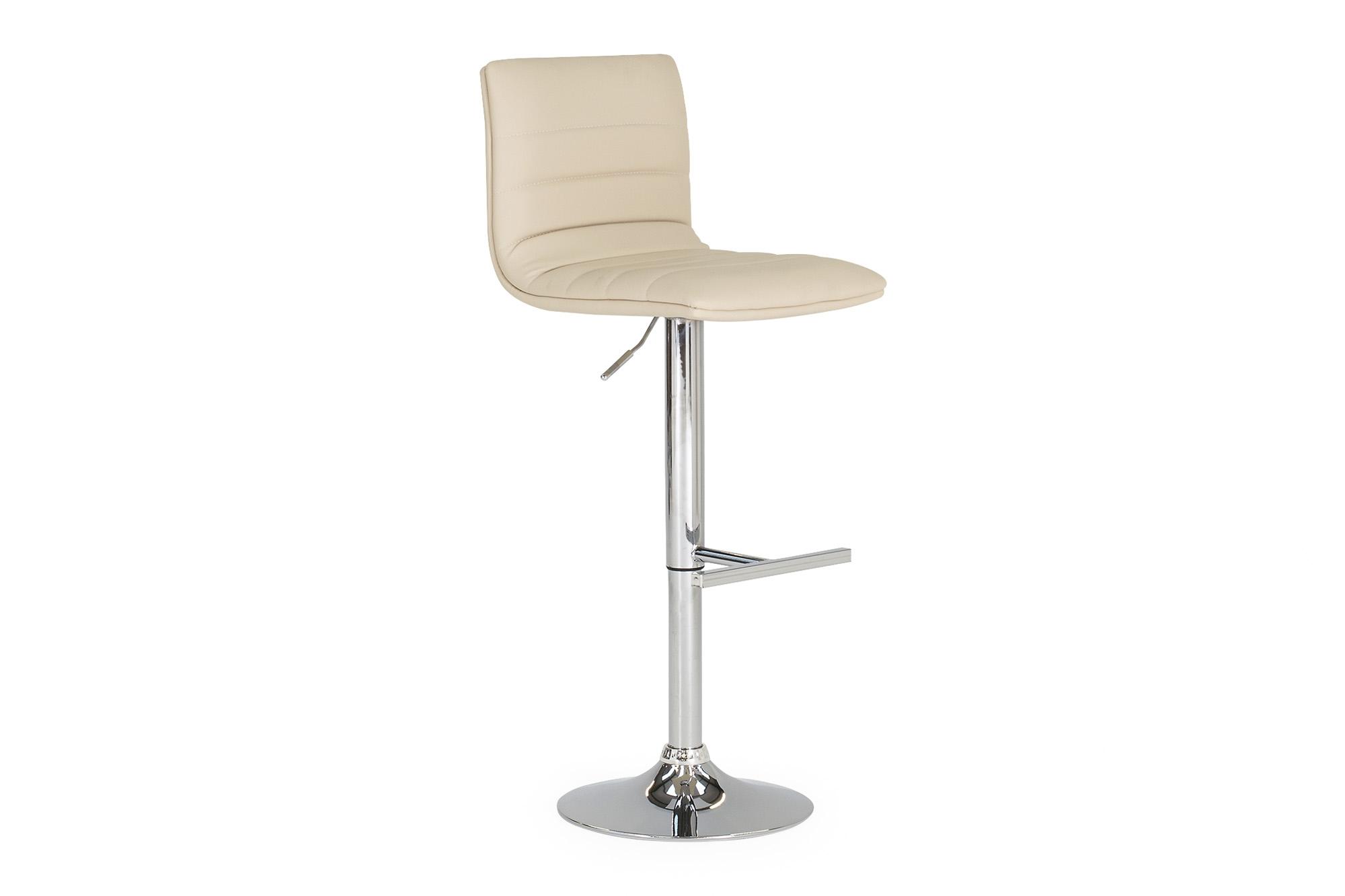 Set 2 scaune de bar tapitate cu piele ecologica cu picior metalic Retro Cream l40xA44xH83 cm