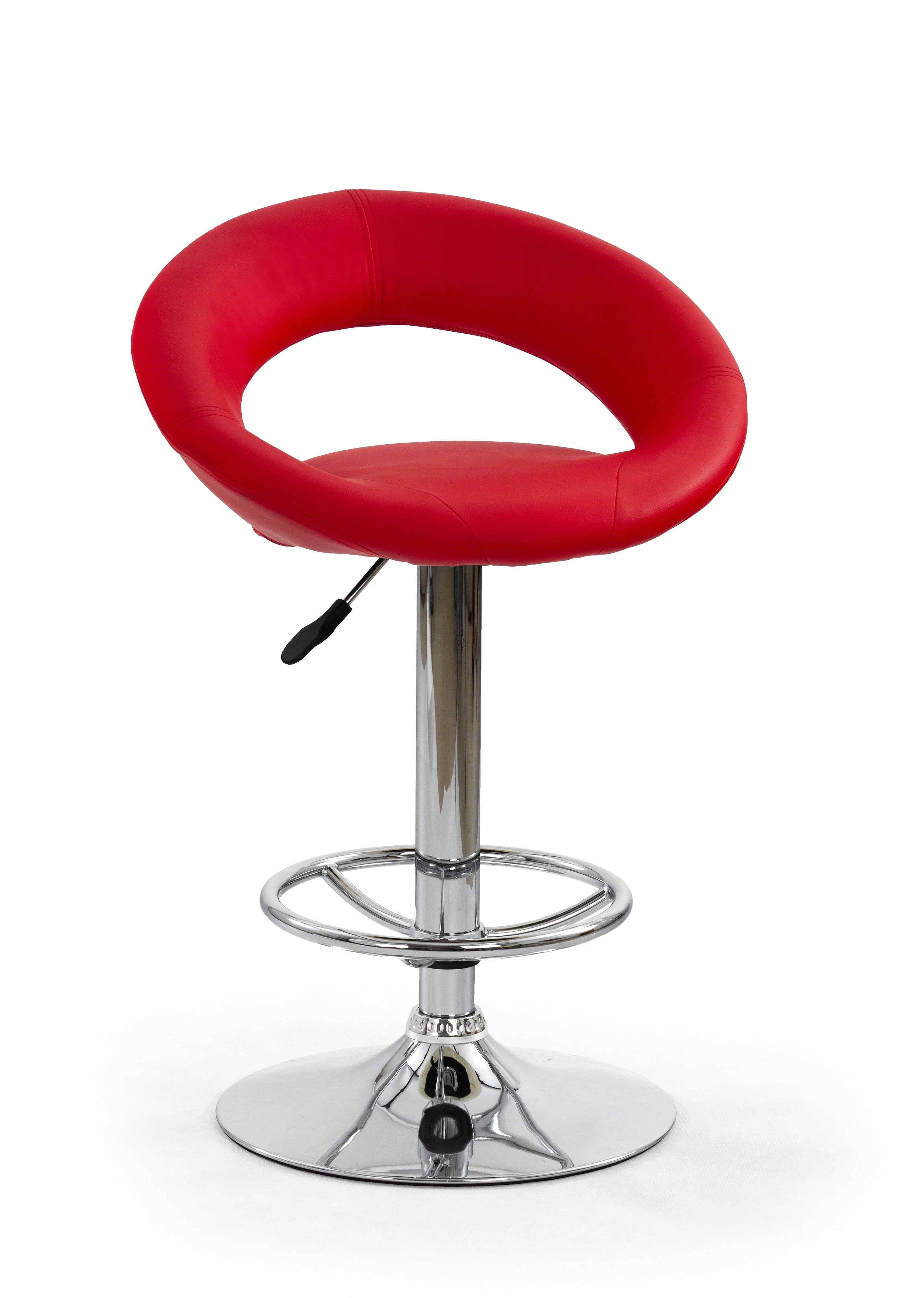 Scaun de bar tapitat cu piele ecologica, cu picior metalic H-15 Red, l54xA46xH80-102 cm imagine