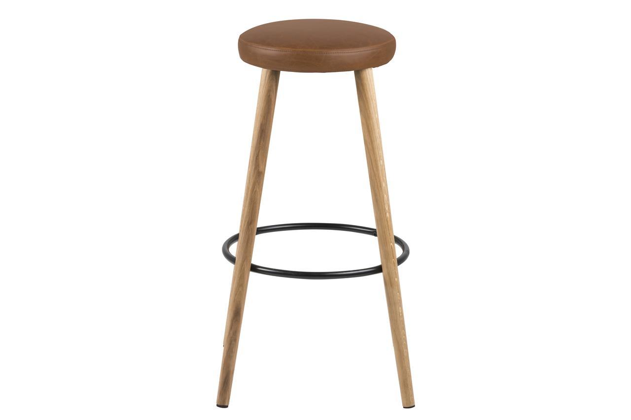 Scaun de bar tapitat cu piele ecologica si picioare din lemn Hector Maro / Stejar, Ø41xH77 cm