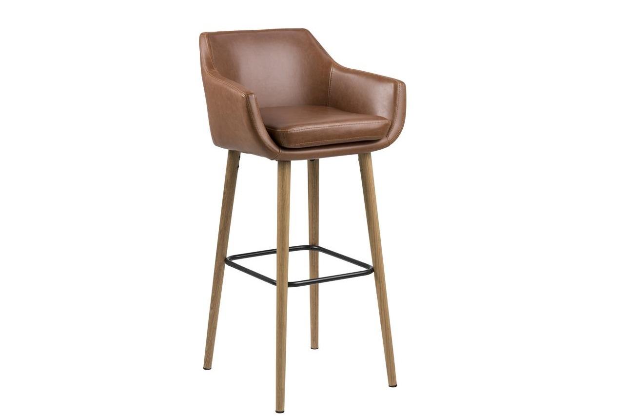 Scaun de bar tapitat cu piele ecologica si picioare din lemn Nora Maro / Stejar, l55xA54xH101 cm imagine