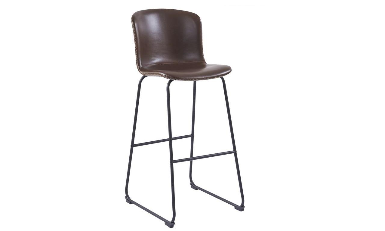 Scaun de bar tapitat cu piele ecologica si picioare metalice Story Maro / Negru, l50xA55xH106 cm imagine
