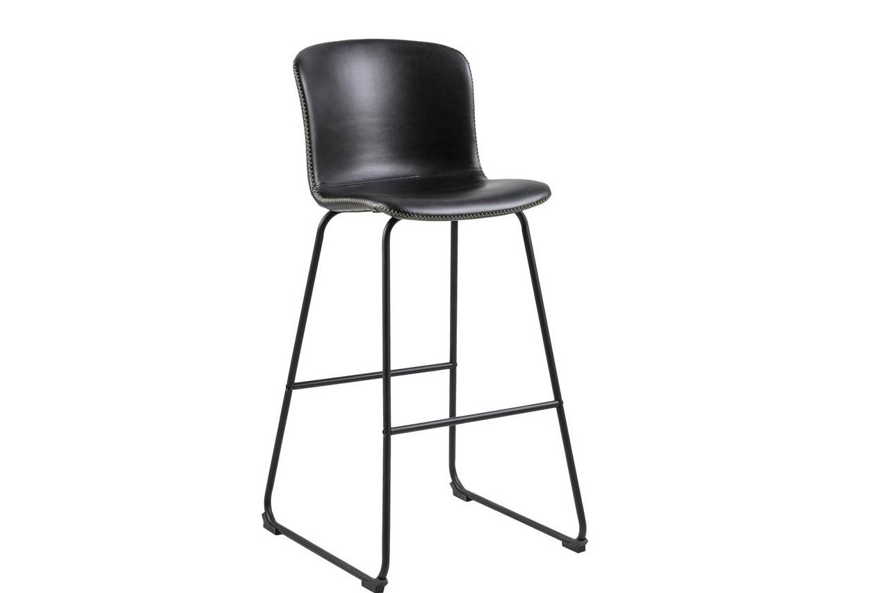 Scaun de bar tapitat cu piele ecologica si picioare metalice Story Negru, l50xA55xH106 cm imagine