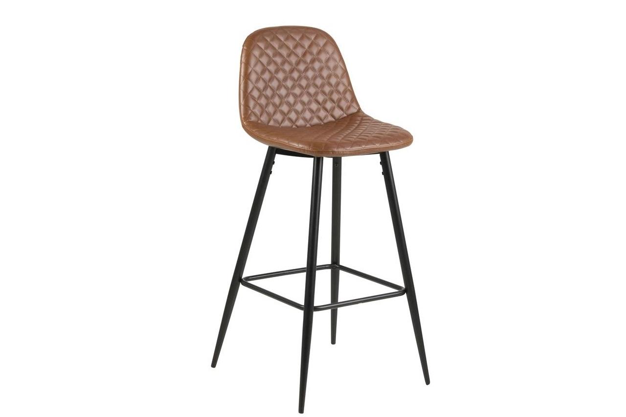 Scaun de bar tapitat cu piele ecologica si picioare metalice Wilma Maro / Negru, l46,6xA51xH101 cm