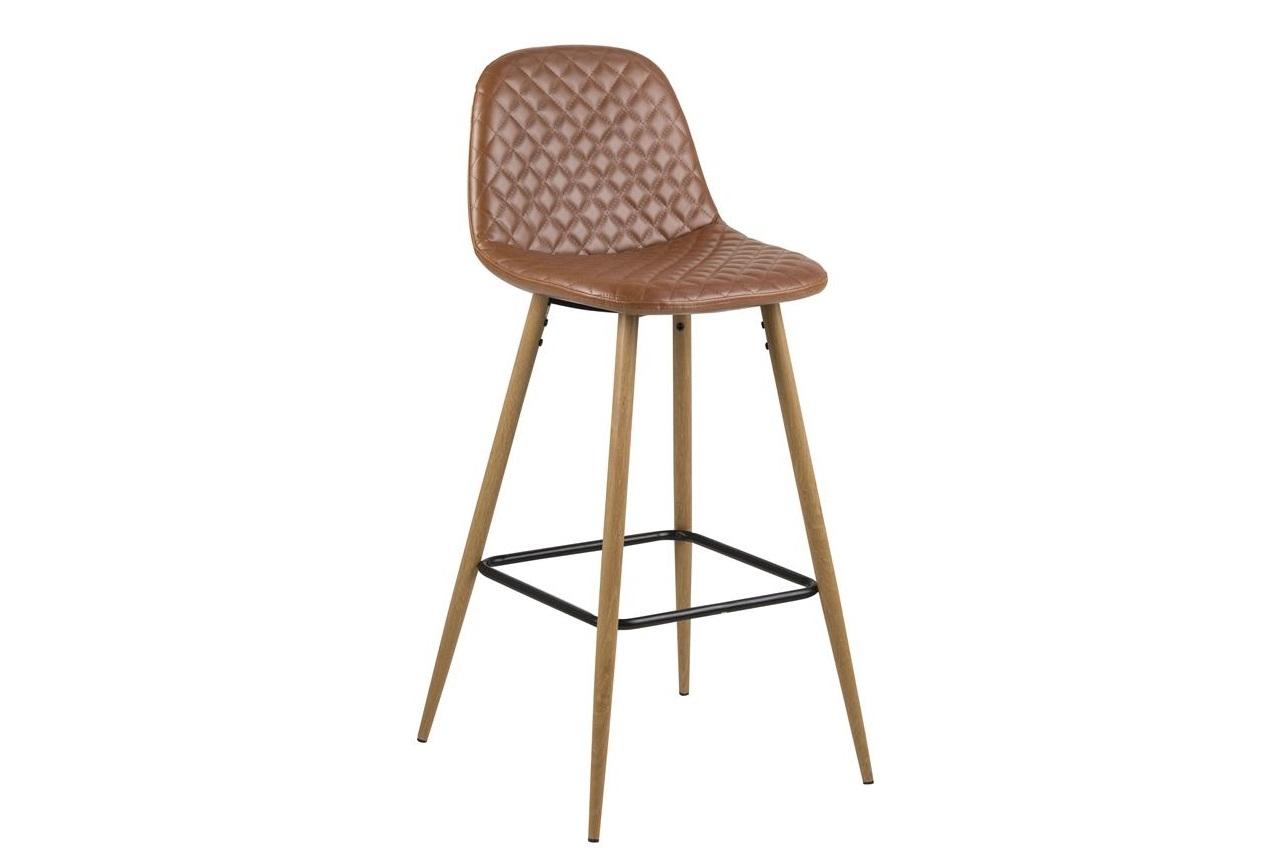 Scaun de bar tapitat cu piele ecologica si picioare metalice Wilma Maro / Stejar, l46,6xA51xH101 cm