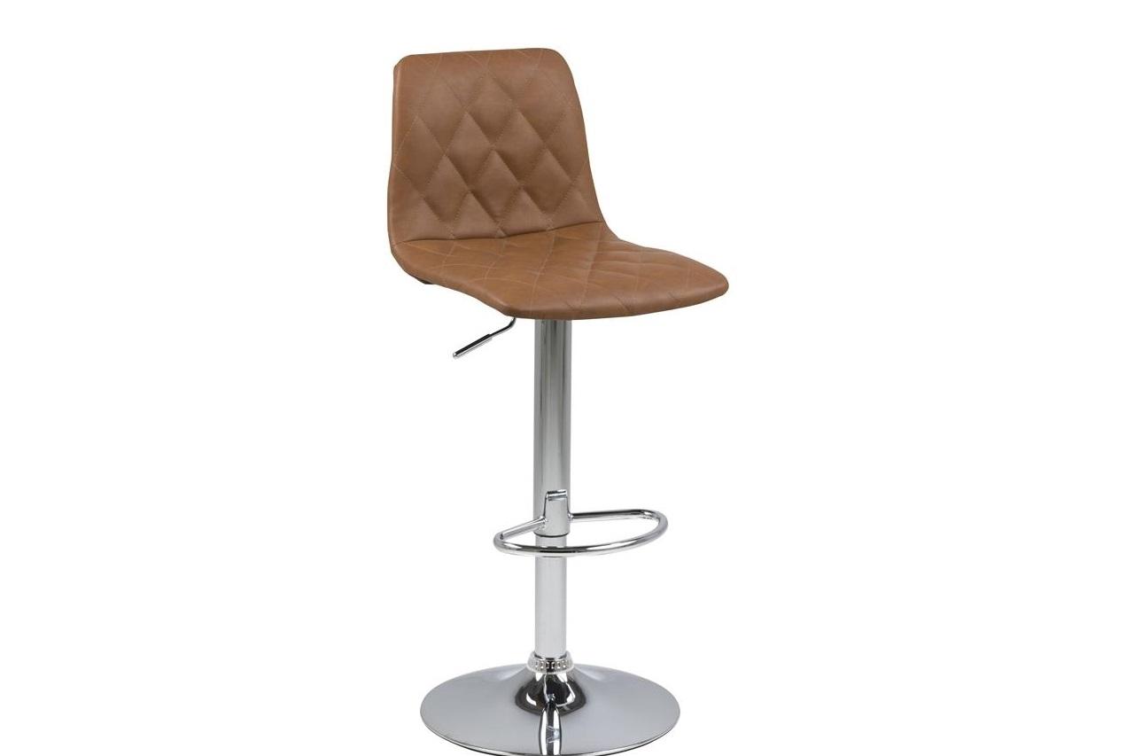 Scaun de bar tapitat cu piele ecologica si picior metalic Emu Maro Deschis / Crom, l40xA48,5xH110 cm imagine
