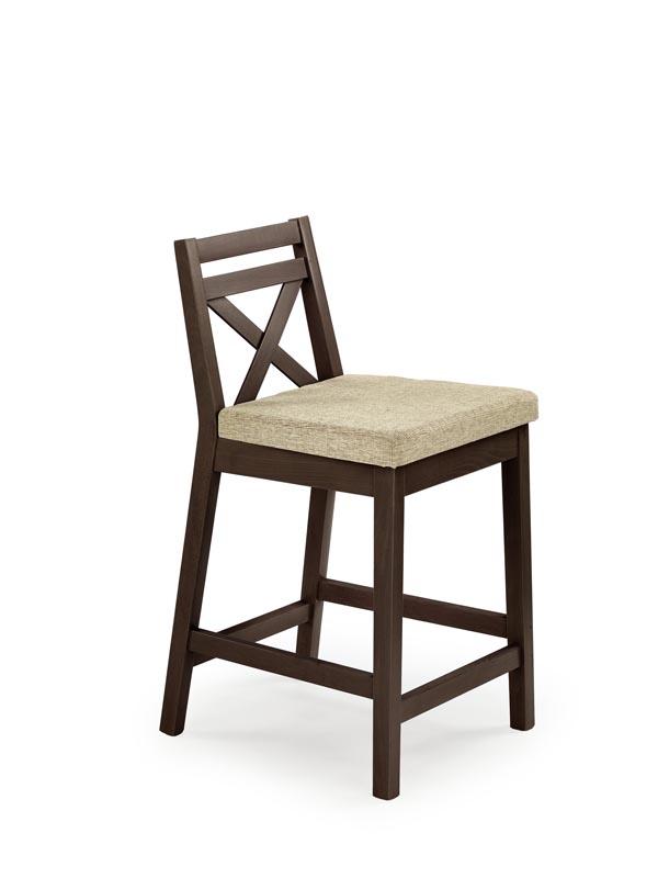 Scaun de bar tapitat cu stofa, cu picioare din lemn Borys Low Nuc Inchis, l41xA48xH83 cm poza