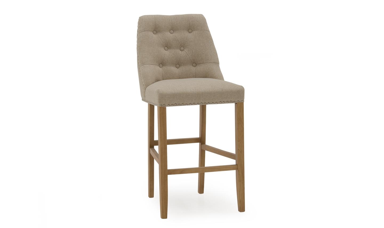 Scaun de bar tapitat cu stofa cu picioare din lemn de cauciuc Eldridge Beige l50xA62xH114 cm