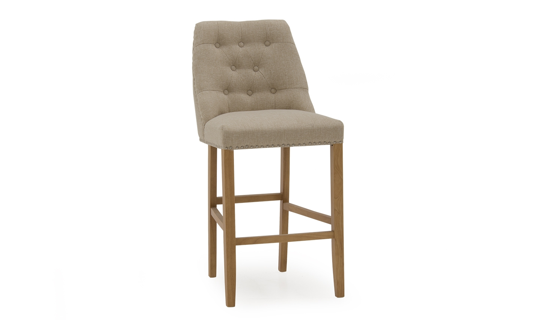 Set 2 scaune de bar tapitate cu stofa cu picioare din lemn de cauciuc Eldridge Beige l50xA62xH114 cm