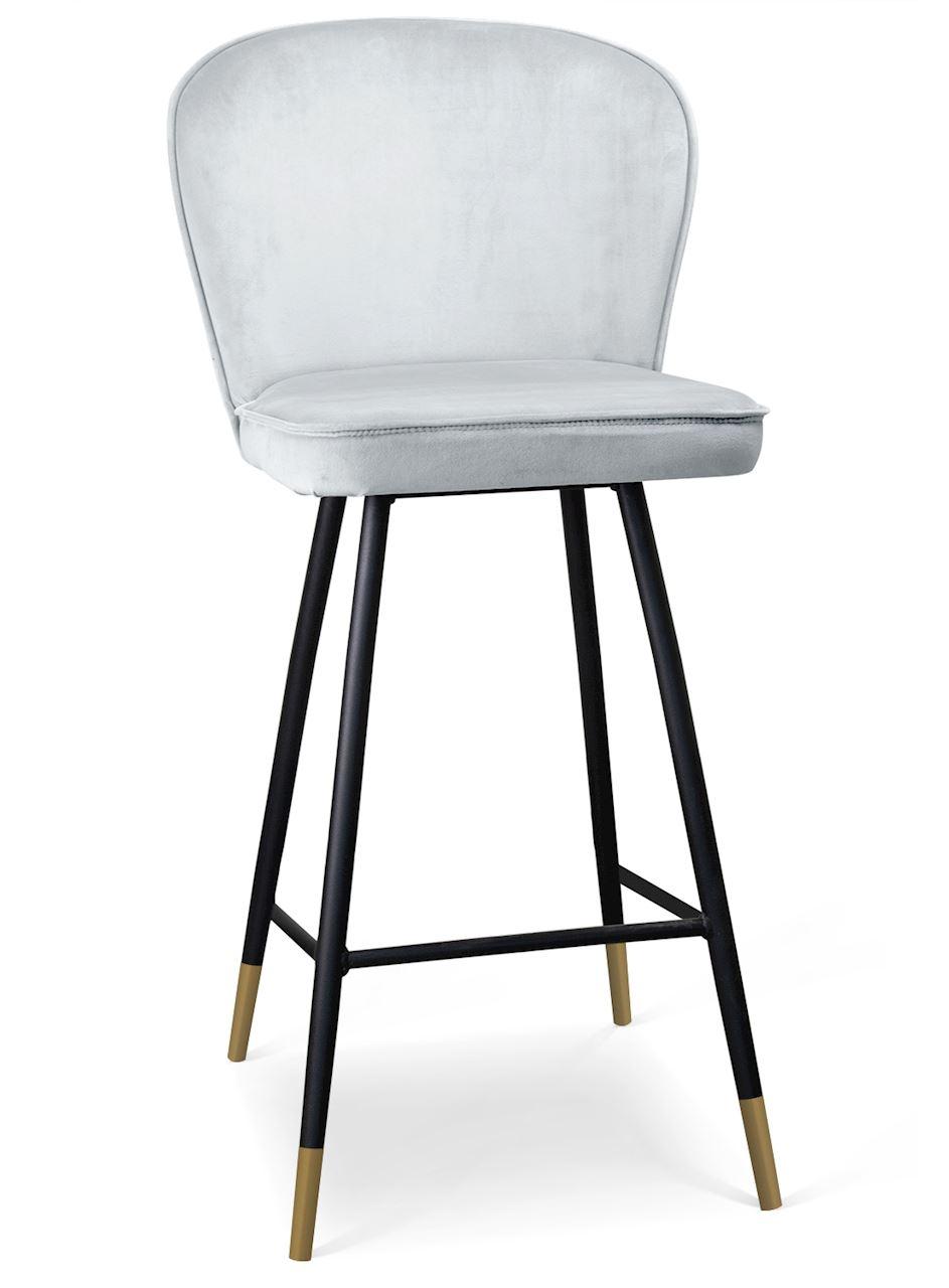 Scaun de bar tapitat cu stofa, cu picioare metalice Aine Argintiu / Negru / Auriu, l50xA53xH106 cm