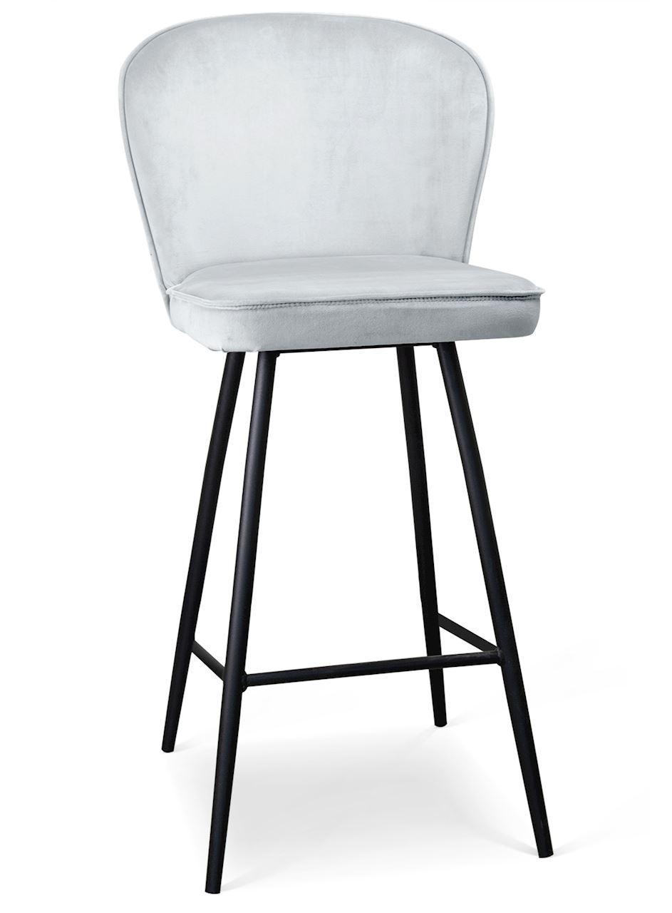 Scaun de bar tapitat cu stofa, cu picioare metalice Aine Argintiu / Negru, l50xA53xH106 cm