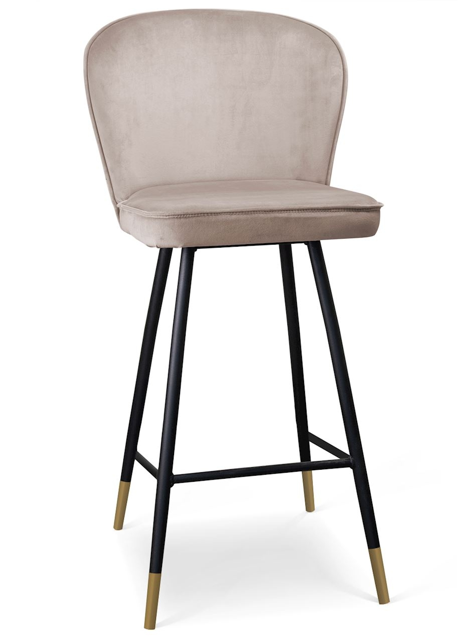 Scaun de bar tapitat cu stofa, cu picioare metalice Aine Bej / Negru / Auriu, l50xA53xH106 cm
