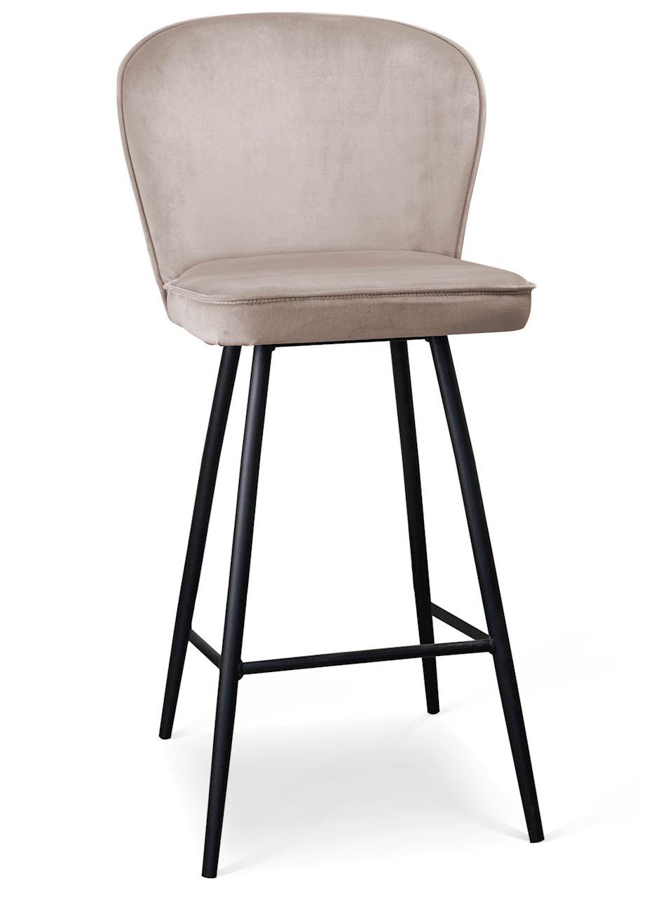 Scaun de bar tapitat cu stofa, cu picioare metalice Aine Bej / Negru, l50xA53xH106 cm
