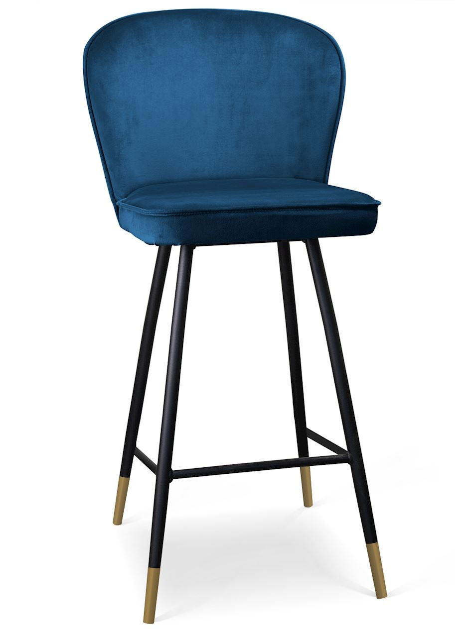 Scaun de bar tapitat cu stofa, cu picioare metalice Aine Bleumarin / Negru / Auriu, l50xA53xH106 cm