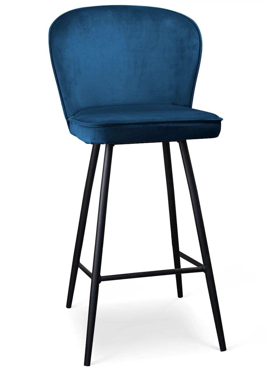 Scaun de bar tapitat cu stofa, cu picioare metalice Aine Bleumarin / Negru, l50xA53xH106 cm