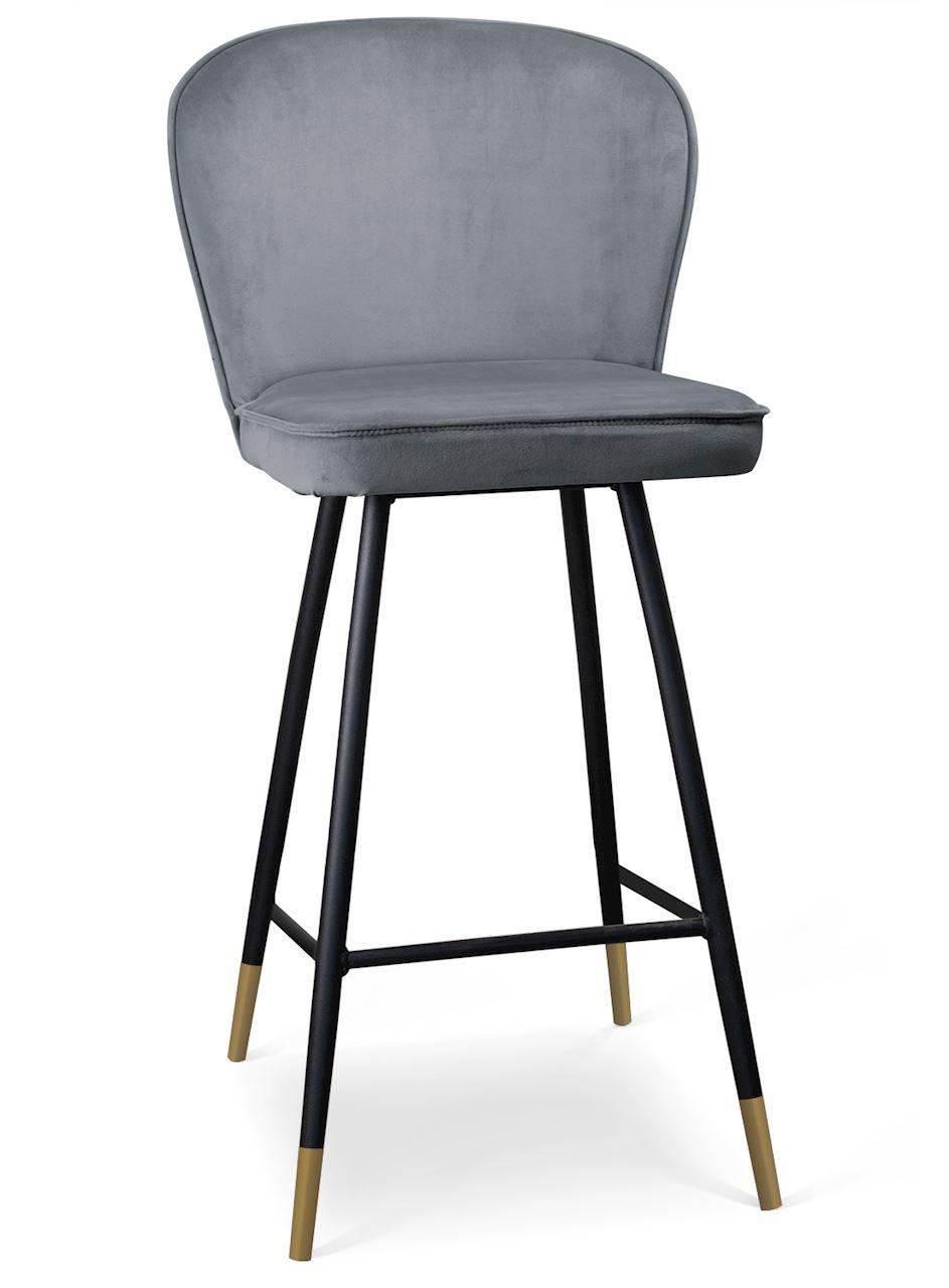 Scaun de bar tapitat cu stofa, cu picioare metalice Aine Gri / Negru / Auriu, l50xA53xH106 cm