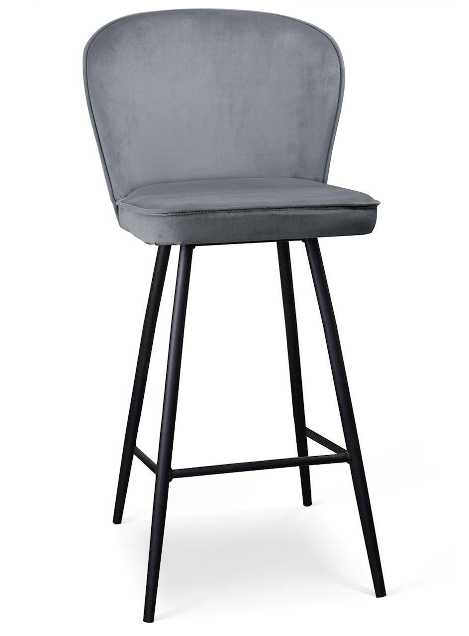 Scaun de bar tapitat cu stofa, cu picioare metalice Aine Gri / Negru, l50xA53xH106 cm
