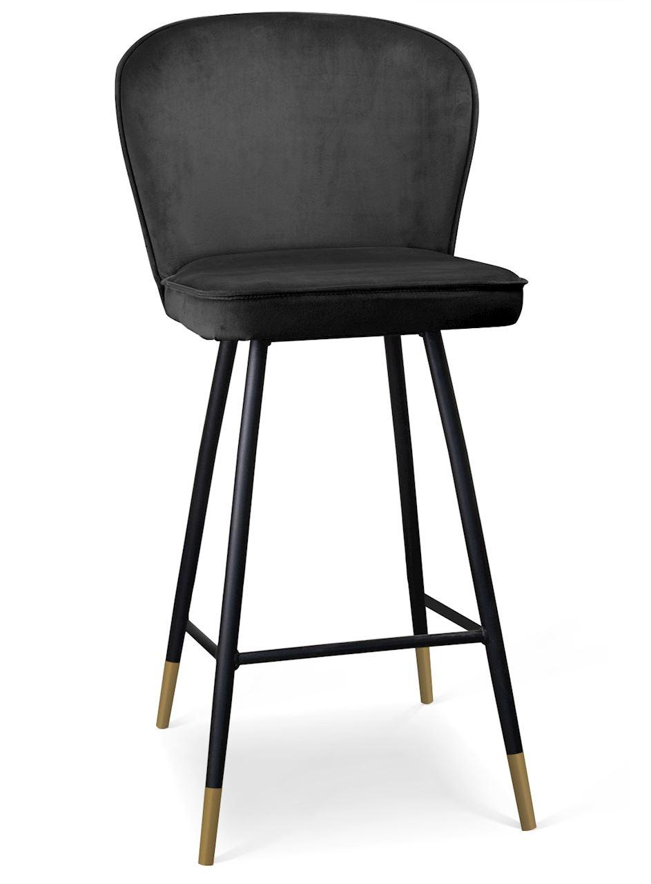 Scaun de bar tapitat cu stofa, cu picioare metalice Aine Negru / Auriu, l50xA53xH106 cm