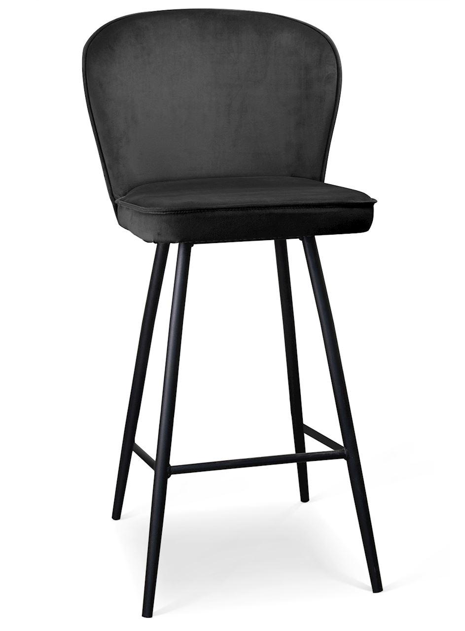 Scaun de bar tapitat cu stofa, cu picioare metalice Aine Negru, l50xA53xH106 cm