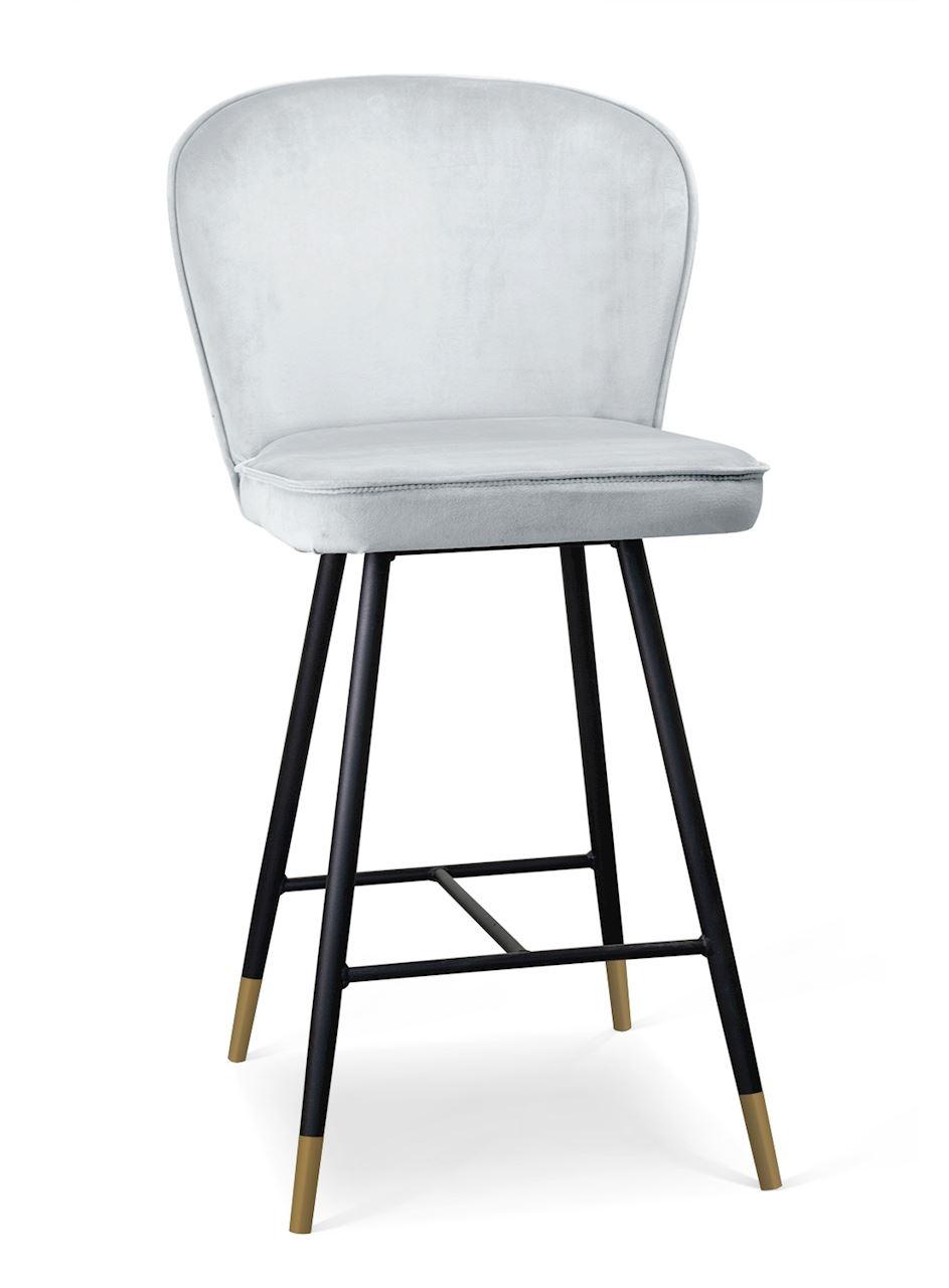 Scaun de bar tapitat cu stofa, cu picioare metalice Aine Small Argintiu / Negru / Auriu, l50xA53xH96