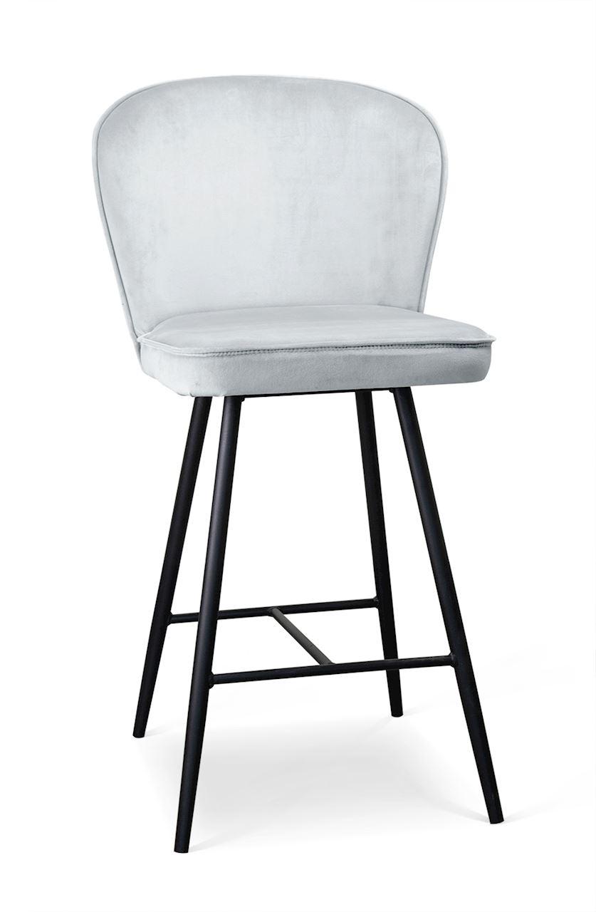 Scaun de bar tapitat cu stofa, cu picioare metalice Aine Small Argintiu / Negru, l50xA53xH96 cm