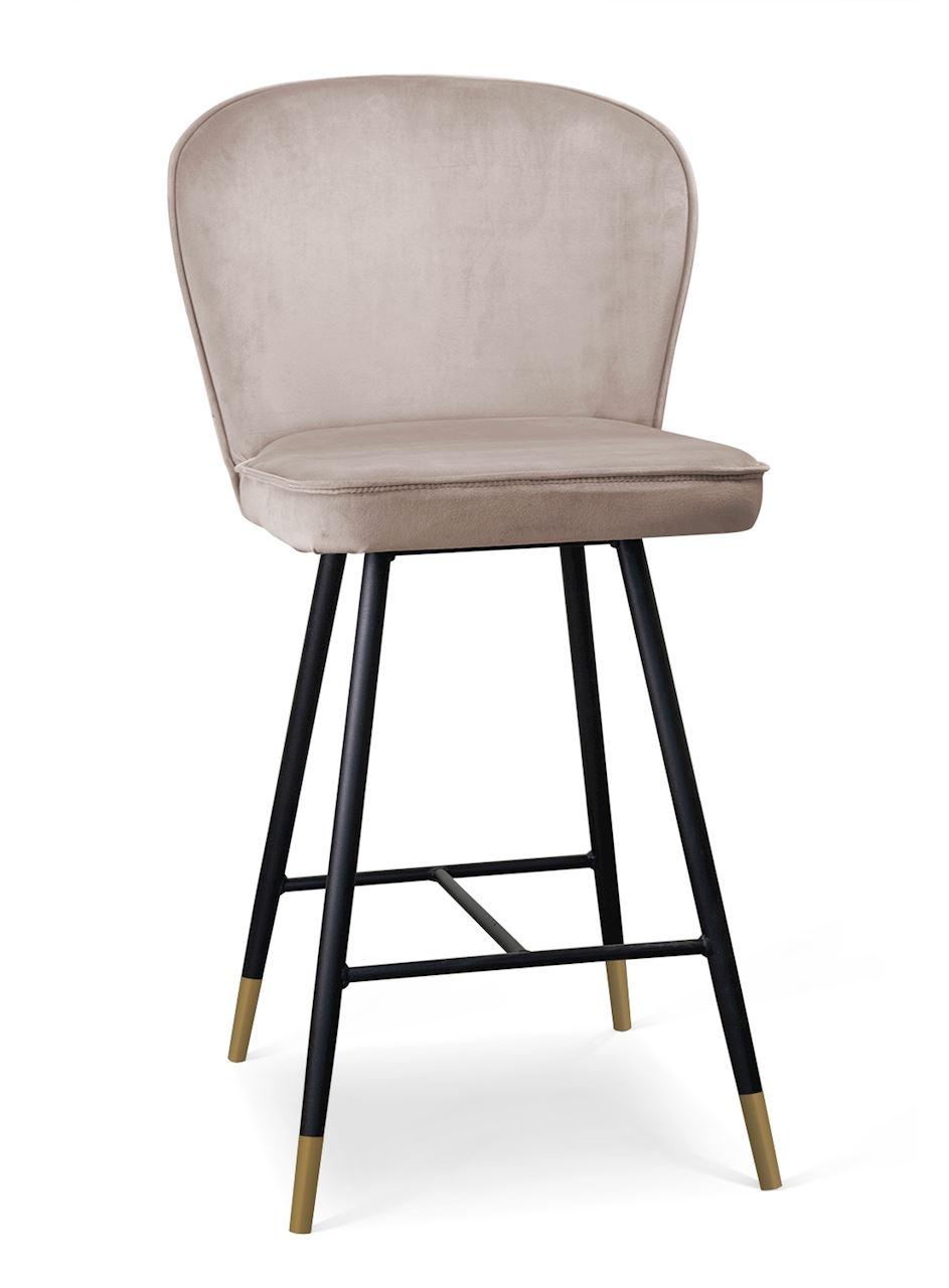 Scaun de bar tapitat cu stofa, cu picioare metalice Aine Small Bej / Negru / Auriu, l50xA53xH96 cm