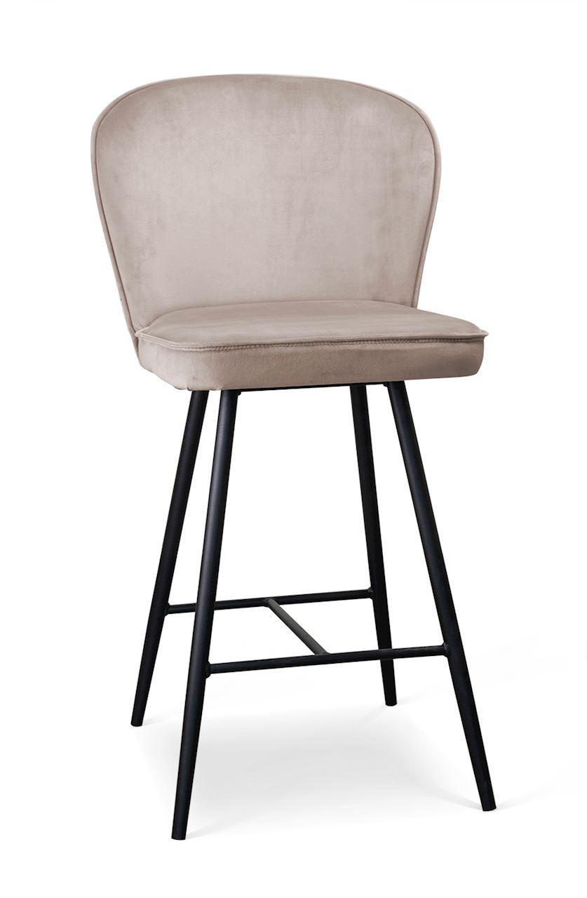 Scaun de bar tapitat cu stofa, cu picioare metalice Aine Small Bej / Negru, l50xA53xH96 cm