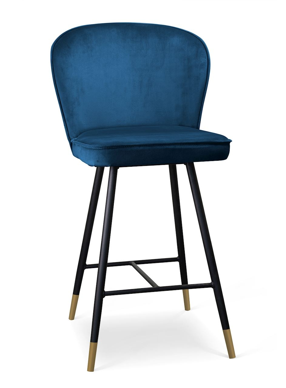 Scaun de bar tapitat cu stofa, cu picioare metalice Aine Small Bleumarin / Negru / Auriu, l50xA53xH9