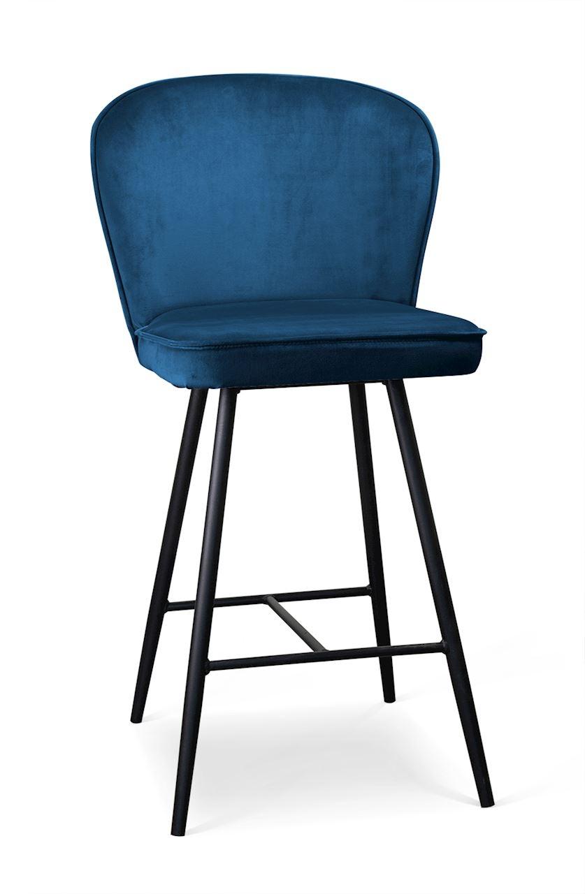 Scaun de bar tapitat cu stofa, cu picioare metalice Aine Small Bleumarin / Negru, l50xA53xH96 cm