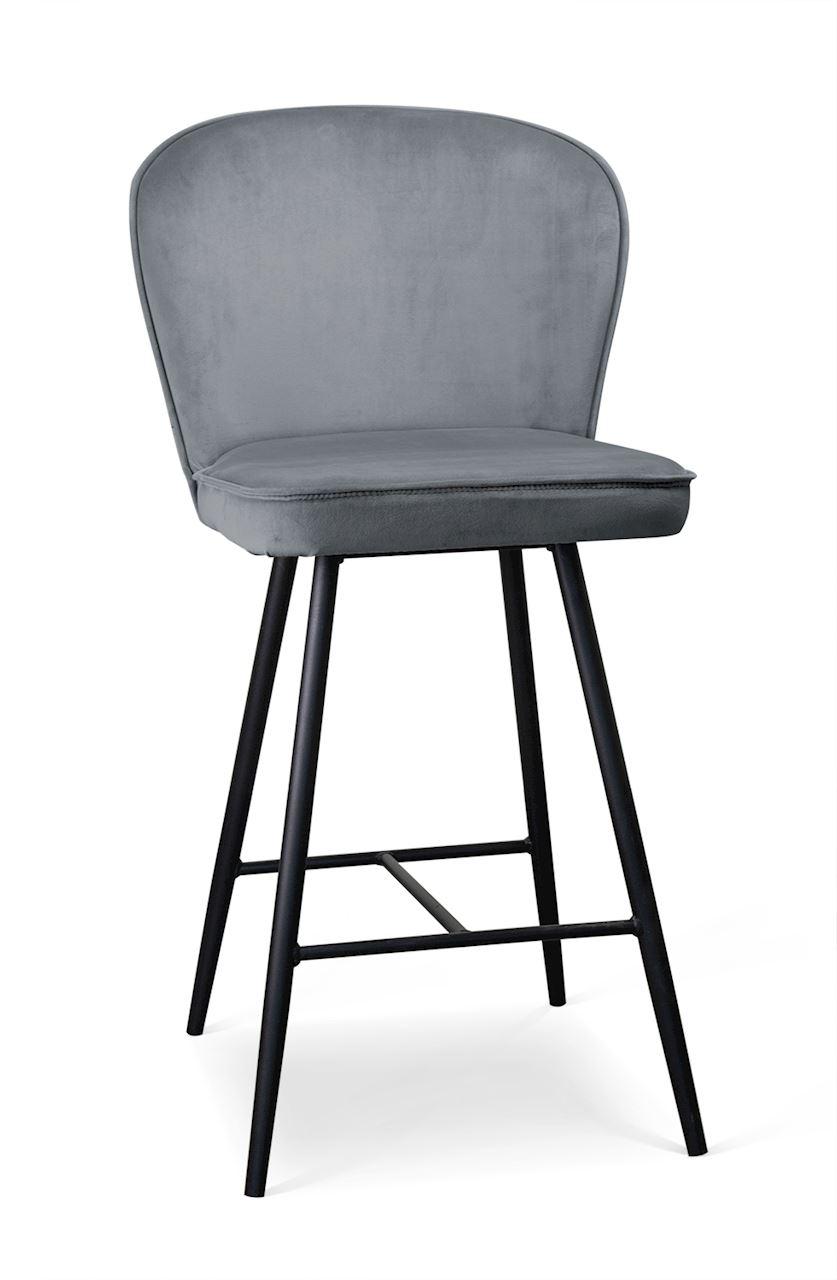 Scaun de bar tapitat cu stofa, cu picioare metalice Aine Small Gri / Negru, l50xA53xH96 cm