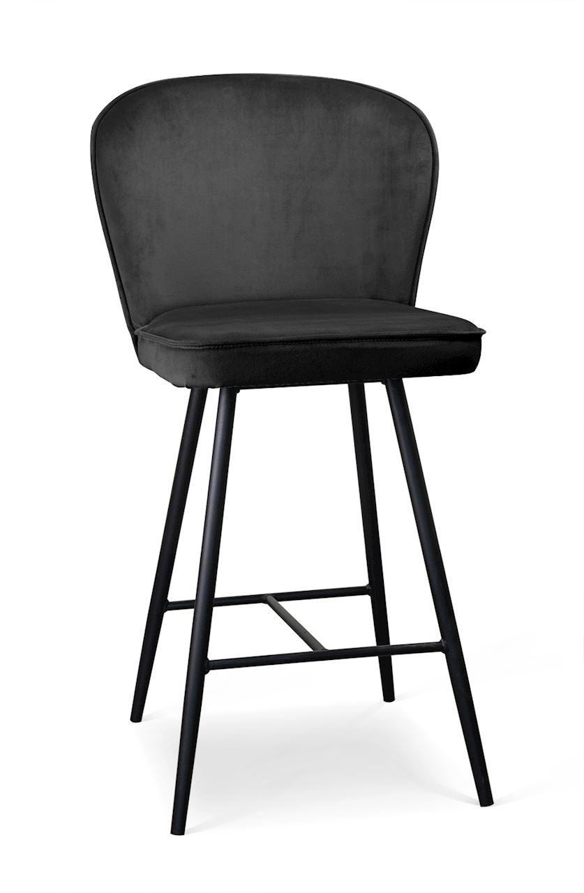 Scaun de bar tapitat cu stofa, cu picioare metalice Aine Small Negru, l50xA53xH96 cm
