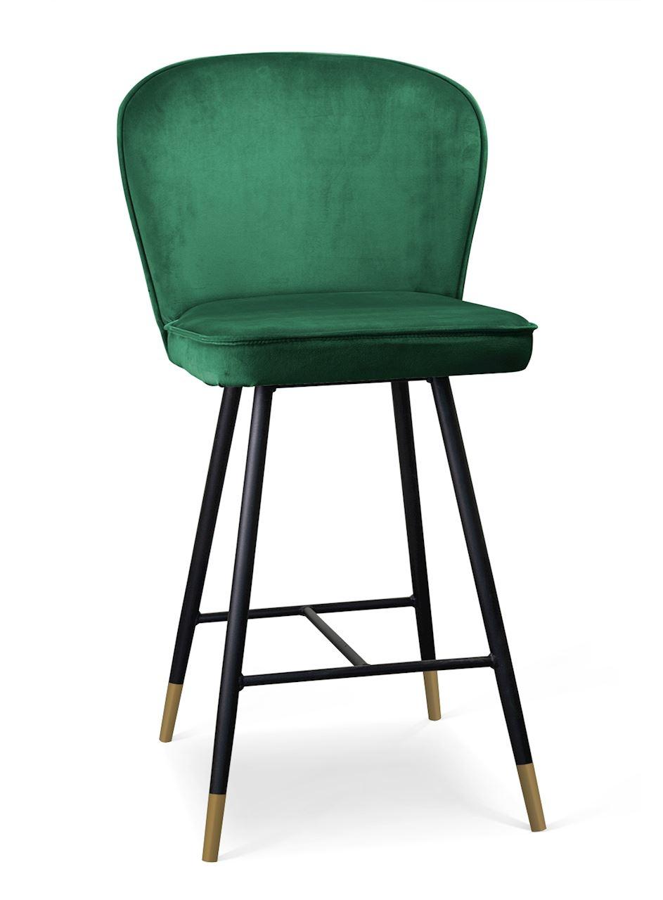 Scaun de bar tapitat cu stofa, cu picioare metalice Aine Verde / Negru / Auriu, l50xA53xH106 cm