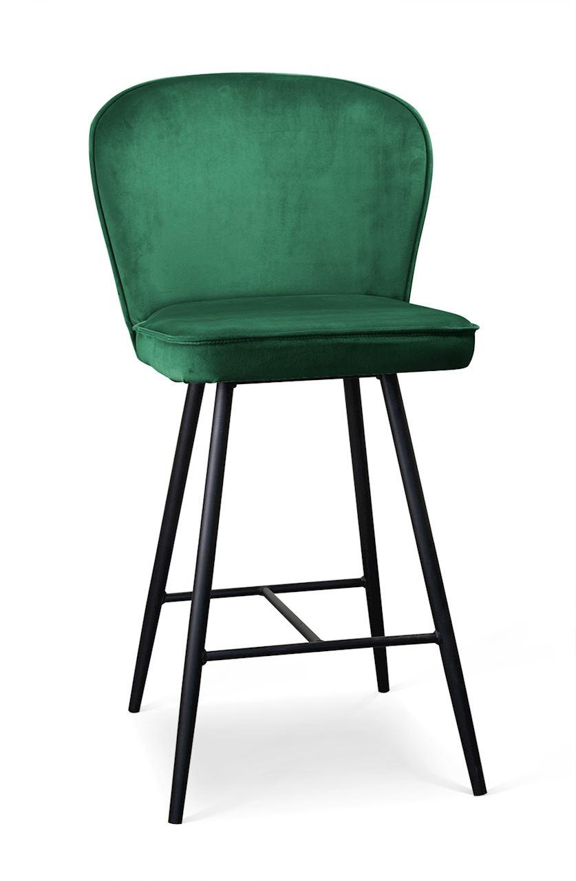 Scaun de bar tapitat cu stofa cu picioare metalice Aine Verde / Negru l50xA53xH106 cm