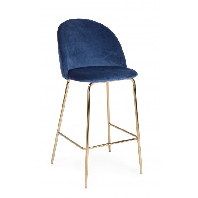 Scaun de bar tapitat cu stofa, cu picioare metalice Carry Albastru inchis / Auriu, l51xA55xH105 cm