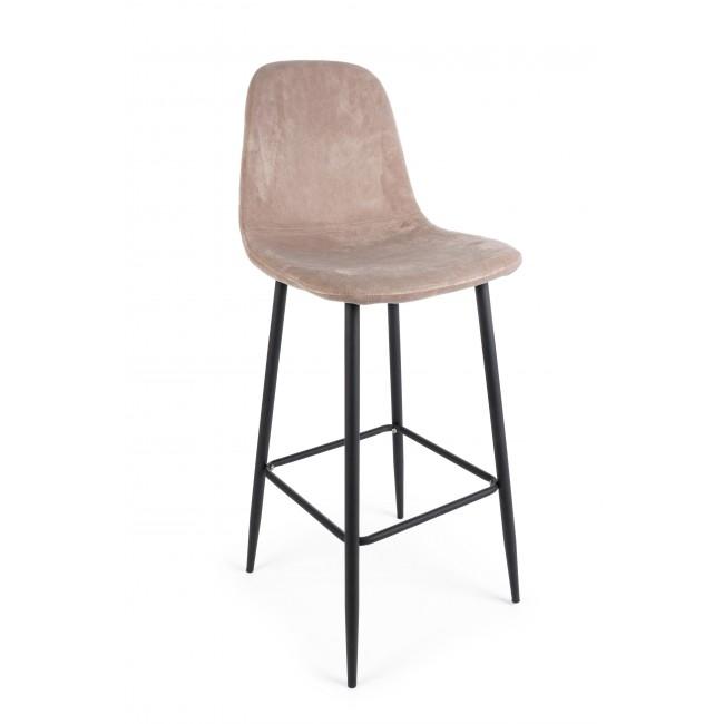 Scaun de bar tapitat cu stofa cu picioare metalice Irelia Grej / Negru l46xA39xH103 cm