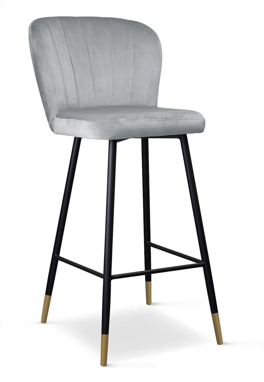 Scaun de bar tapitat cu stofa, cu picioare metalice Shelly Argintiu / Negru / Auriu, l50xA53xH106 cm