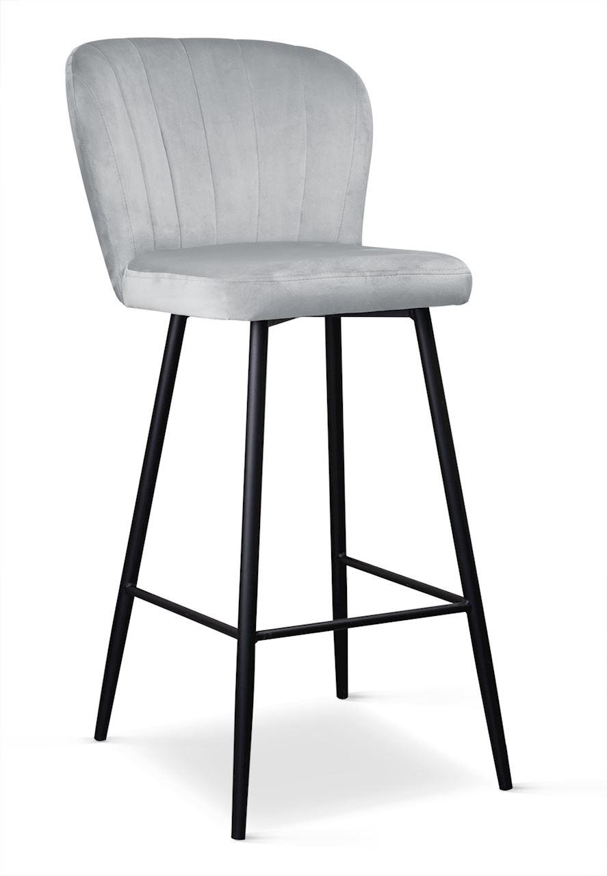 Scaun Bar Tapitat Stofa Picioare Metalice Argintiu Negru