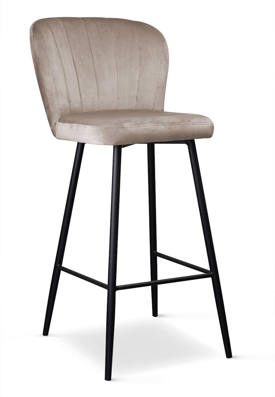 Scaun de bar tapitat cu stofa, cu picioare metalice Shelly Bej / Negru, l50xA53xH106 cm