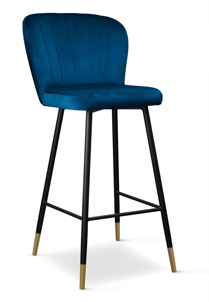 Scaun de bar tapitat cu stofa, cu picioare metalice Shelly Bleumarin / Negru / Auriu, l50xA53xH106 c