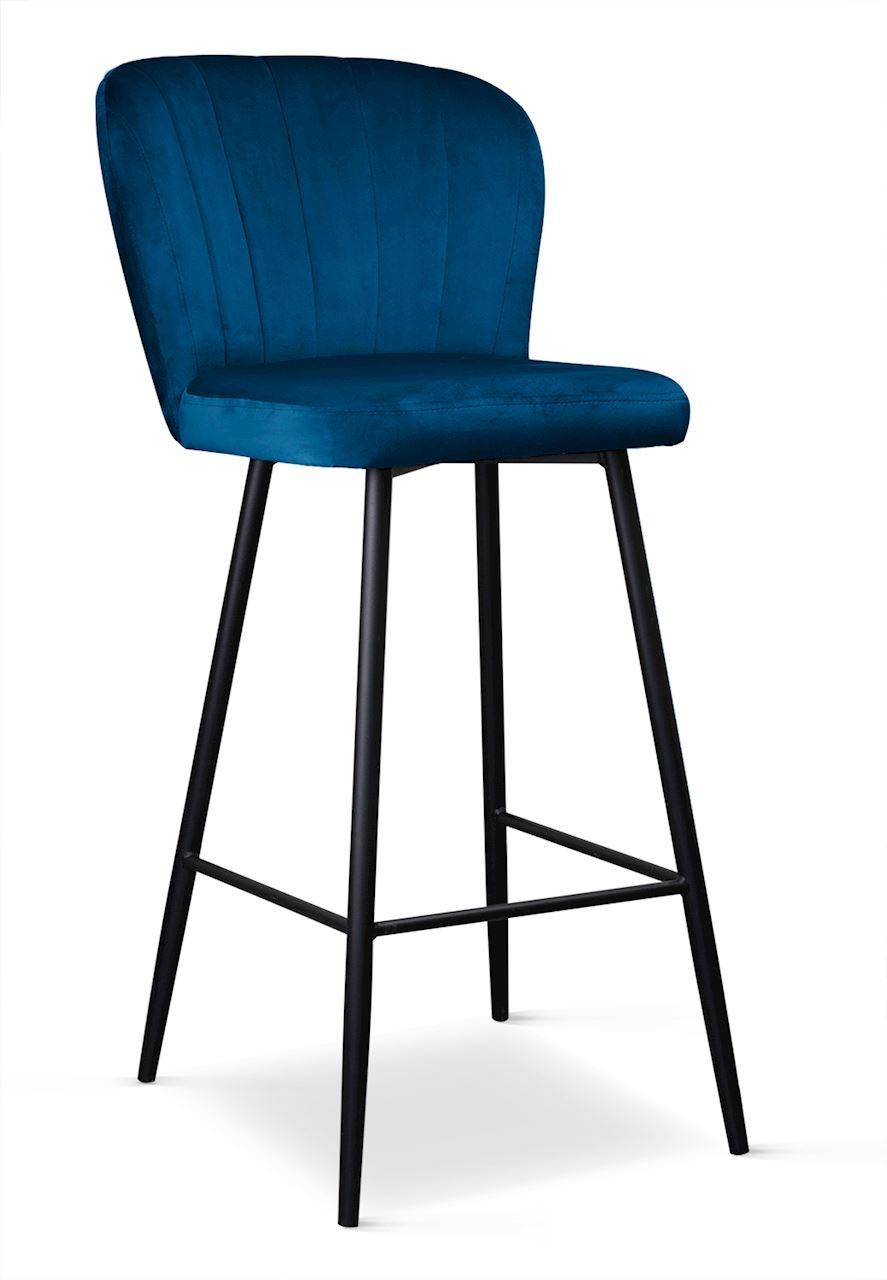 Scaun de bar tapitat cu stofa, cu picioare metalice Shelly Bleumarin / Negru, l50xA53xH106 cm