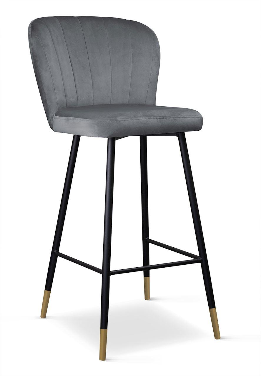 Scaun de bar tapitat cu stofa, cu picioare metalice Shelly Gri / Negru / Auriu, l50xA53xH106 cm