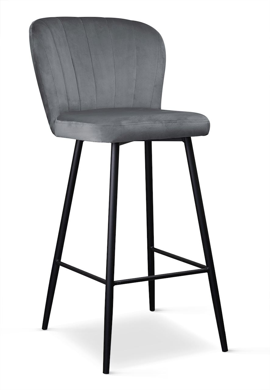 Scaun de bar tapitat cu stofa, cu picioare metalice Shelly Gri / Negru, l50xA53xH106 cm somproduct.ro