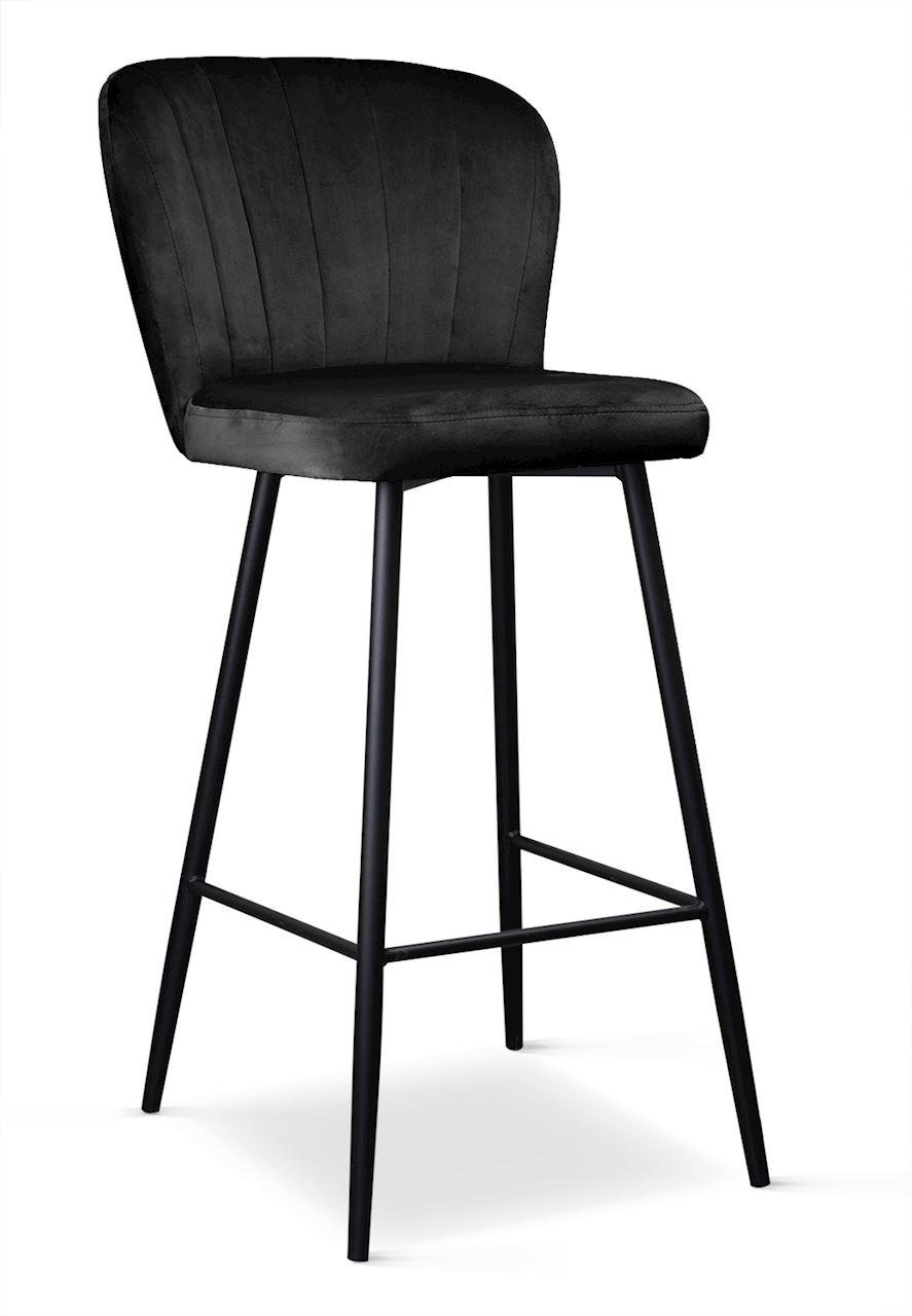 Scaun de bar tapitat cu stofa, cu picioare metalice Shelly Negru, l50xA53xH106 cm