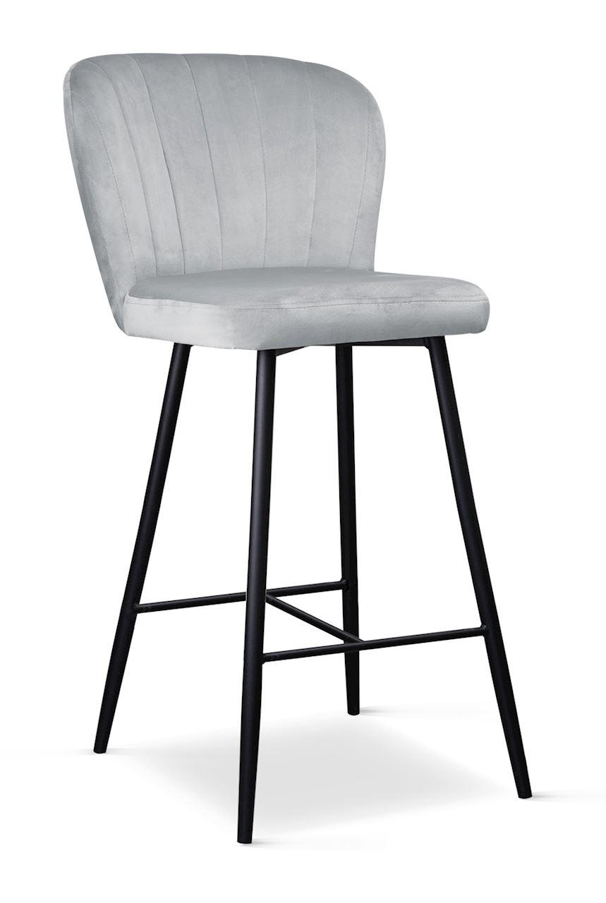 Scaun de bar tapitat cu stofa, cu picioare metalice Shelly Small Argintiu / Negru, l50xA53xH96 cm