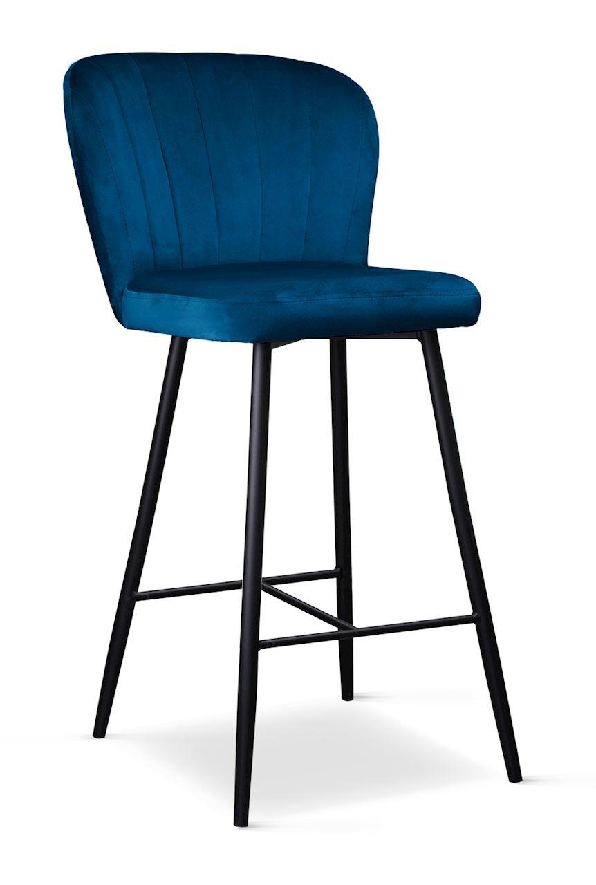 Scaun de bar tapitat cu stofa, cu picioare metalice Shelly Small Bleumarin / Negru, l50xA53xH96 cm