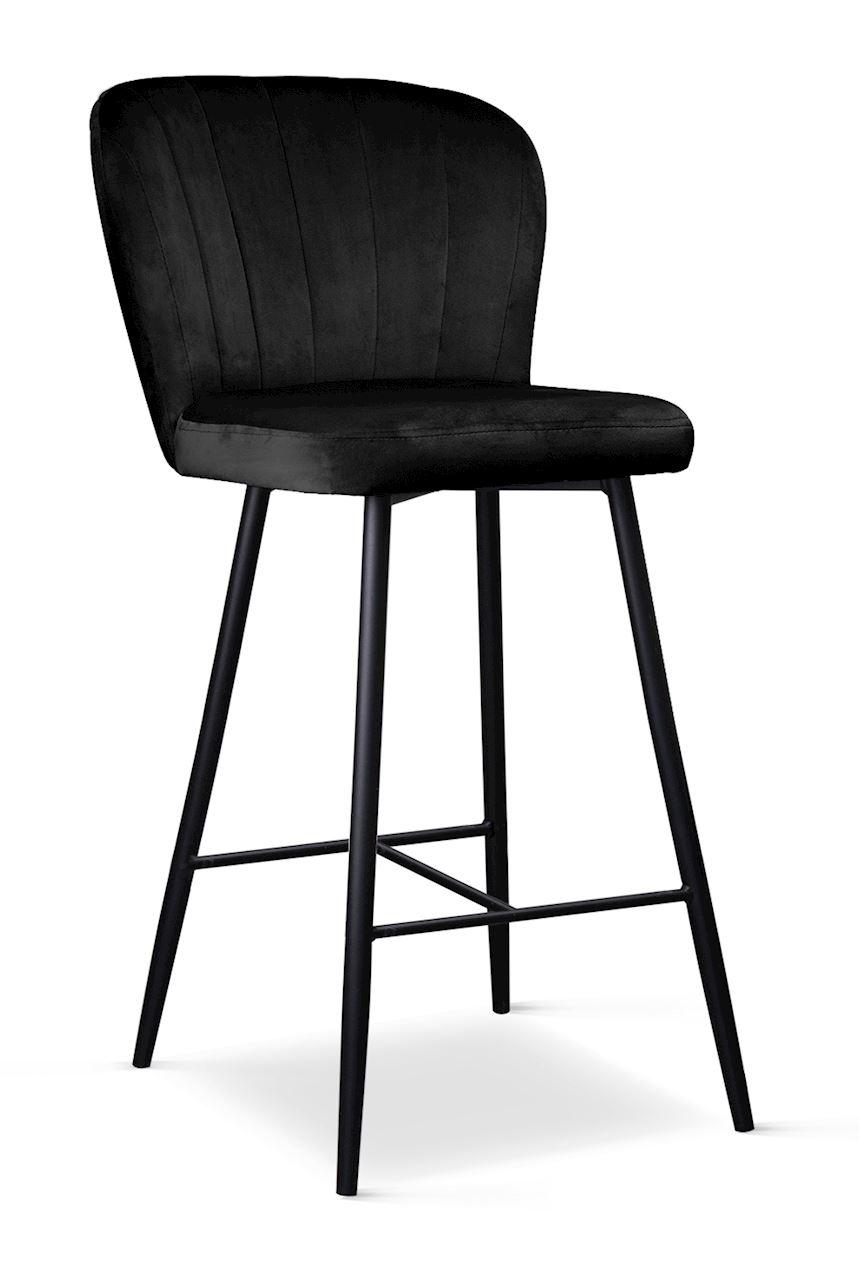 Scaun de bar tapitat cu stofa, cu picioare metalice Shelly Small Negru, l50xA53xH96 cm